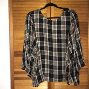 Plaid flutter sleeve blouse